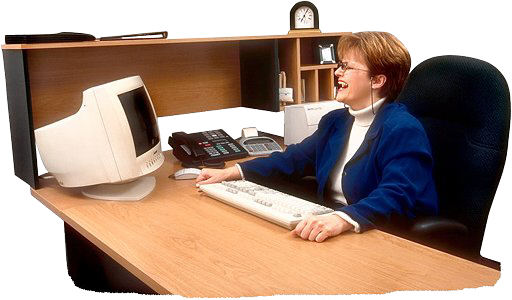 Woman at desk laughing