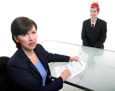 Job interview with weird hat