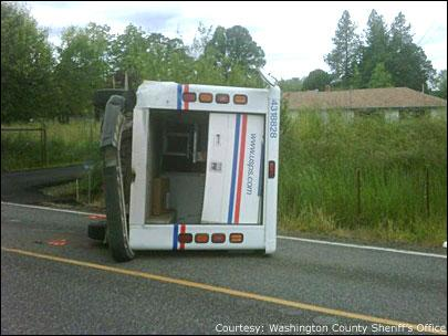 Mail truck on side