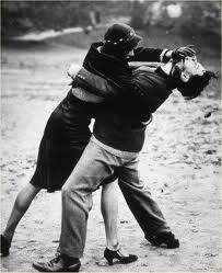 Girl face shoving guy