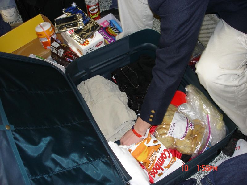 Suitcase with food