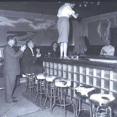 1950 lady on bar