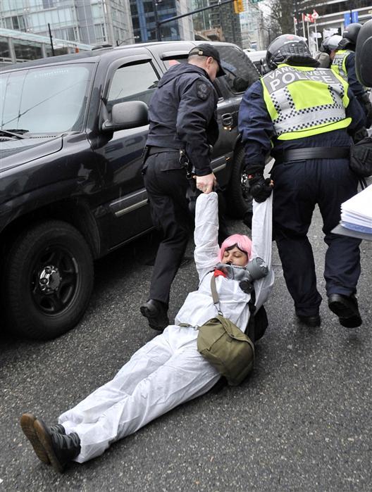 Police drag woman