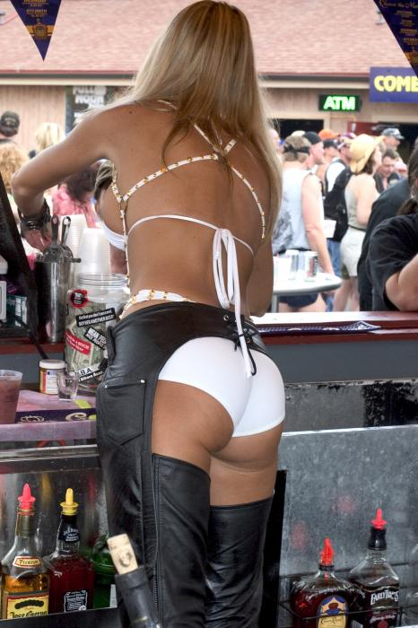 Bartender in shorts