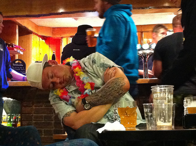Asleep at bar